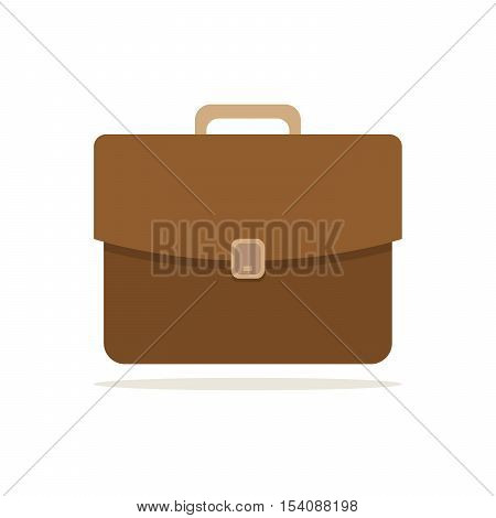 Brown briefcase icon in flat design. Briefcase isolated on white background. Vector illustration.