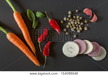Fresh organic vegetables for a healthily cooking seen from above