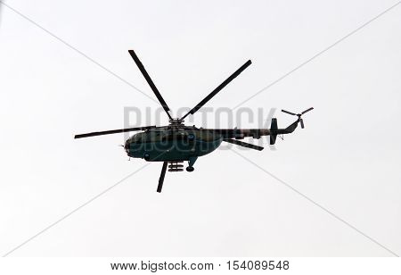 military helicopter on a white background. A close up