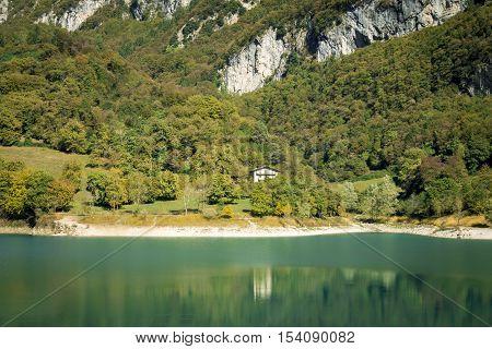 Lago di Tenno - turquoise lake in Italian Alps