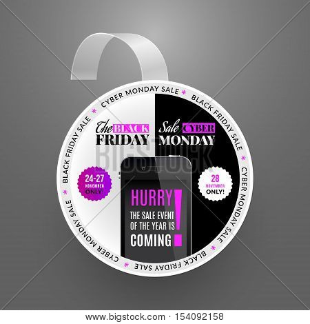 Wobbler design template. Black friday sale event and cyber monday. Vector illustration and box.