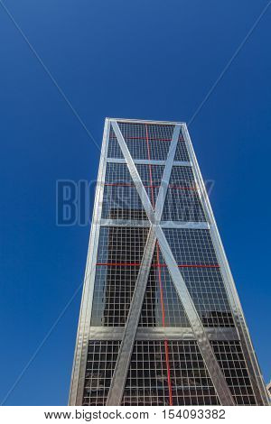 MADRID, SPAIN - MARCH 16, 2016: View at Puerta de Europa Towers in Madrid Spain. Towers have a height of 114 m and were constructed from 1989 to 1996