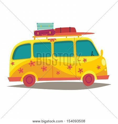 Hippie camper van. Travel by vintage yellow bus. Woodstock lifestyle. Tourism summer holiday. Cartoon style vector illustration isolated on white background