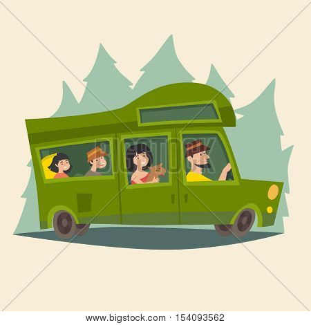Trailer with traveling happy family. Camping trailer family caravan/caravan mobil home on trip. Tourism cartoon character family. Travel by bus/motorhome. Isolated cartoon style vector illustration