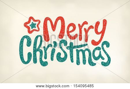 Merry Christmas lettering calligraphy, stamp imprint, vector illustration