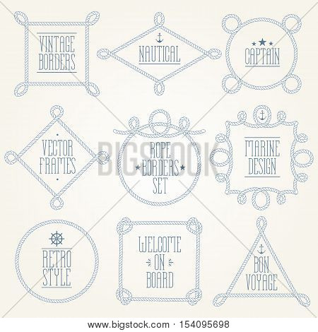 Vintage designed rope borders set. Nautical vector frames.