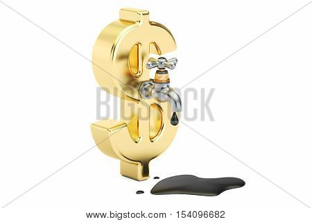 oil concept with dollar symbol 3D rendering isolated on white background