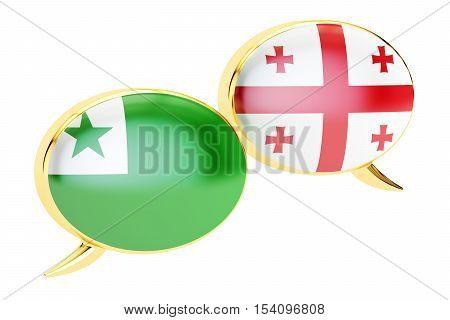 Speech bubbles Georgian-Esperanto translation concept. 3D rendering
