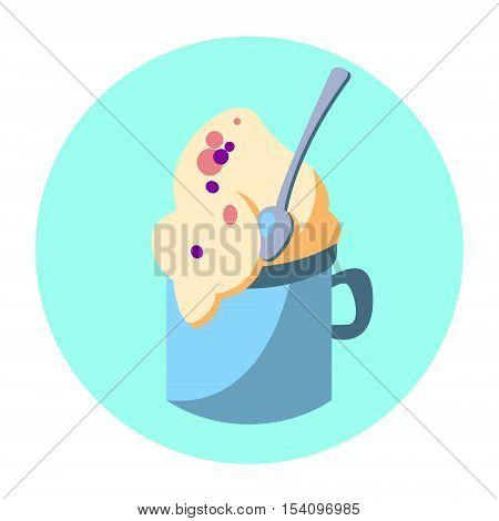 Dessert In Cup Ice Cream Colorful Dessert Flat Design Vector Illustration
