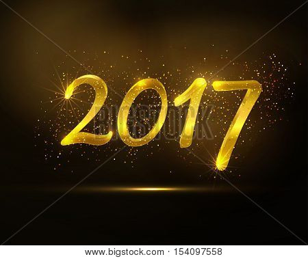 Happy New Year greeting card.  Vector golden glittering design. 2017 trendy holiday background.