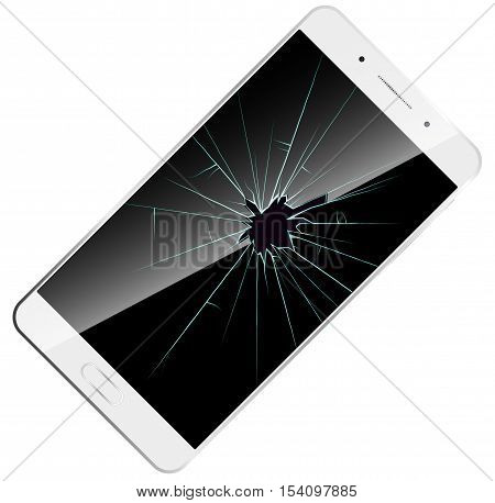 shattered phone screen icon. Vector illustration white modern smartphone with broken screen.