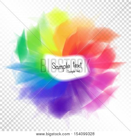 Bright Rainbow Design Element Template fot Text on Transparent Background. Colorful Funny Carnival Iridescent Oval for Decorations. Multicolor Festive Sticker.