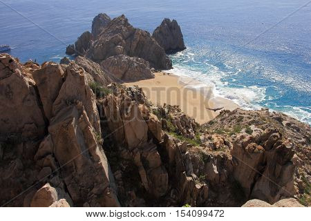 This is a bird's eye view from Mount Solmar. After hiking to the top we were rewarded with this spectacular view of divorce beach and Land's End