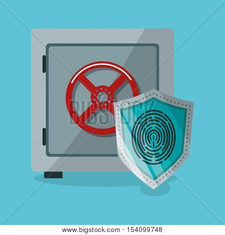 Strongbox and shield icon. Security system warning and protection theme. Colorful design. Vector illustration