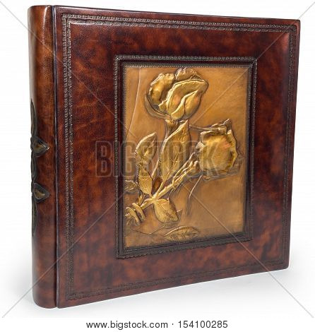 Brown leather book on wite backround on white isolated backround