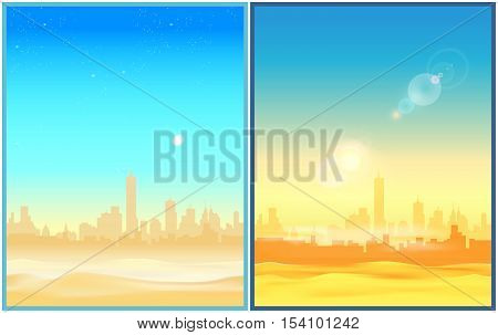 Two stylized vector illustration of a city in the desert in the morning and at the afternoon. Illustration seamless horizontally if needed