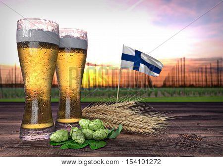 concept of beer consumption in Finland - 3D render