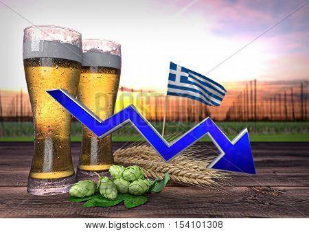 concept of beer consumption in Greece - 3D render