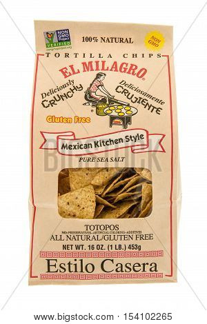 Winneconne WI - 29 October 2016: Bag of El Milagro tortilla chips on an isolated background.