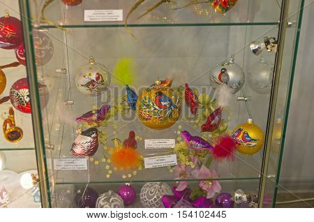 KLIN RUSSIA - JANUARY 16 2016: Museum of Christmas toys. Christmas toys in the form and with the image of the birds.