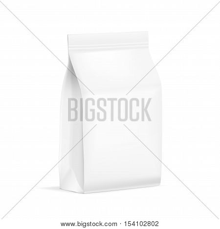 White Blank Plastic Or Paper Packaging With Ziplock. Sachet For Bread Coffee Candys Cookies Or Gifts. EPS10 Vector
