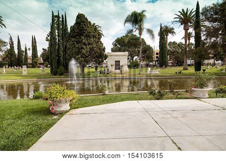 Los Angeles, CA, USA - October 29, 2016: Grounds of the Hollywood Forever Cemeteray during  Dia de los Muertos, Day of the dead, in Los Angeles. Editorial use only.