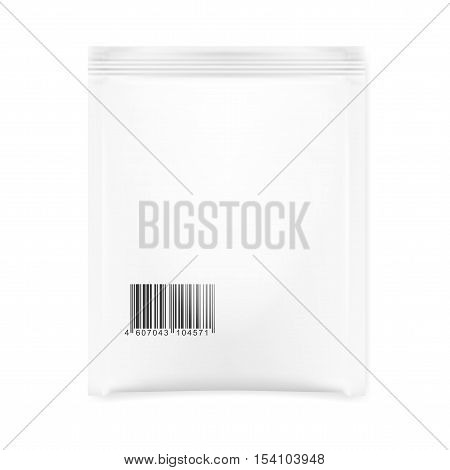 White Blank Foil Pouch Packaging For Salt Sugar Sachet With Barcode. EPS10 Vector