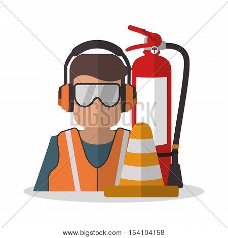 Avatar worker with glasses icon. Industrial safety security and protection theme. Colorful design. Vector illustration