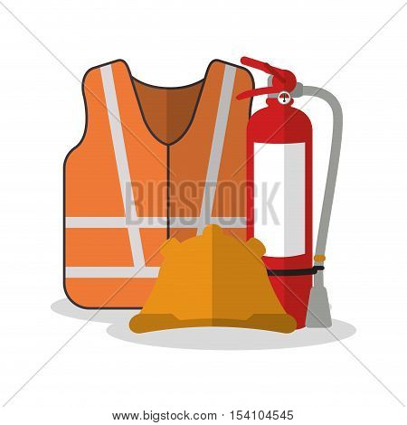 Jacket and helmet icon. Industrial safety security and protection theme. Colorful design. Vector illustration