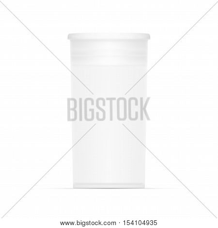 Empty White Cylindrical Medical Package