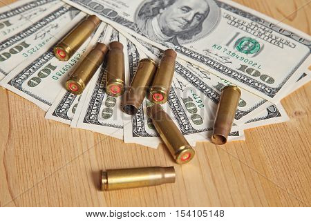 The used shell casings is on a money