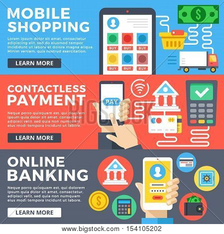 Mobile shopping, contactless payment, online banking flat illustration concepts set. Flat design graphic for web sites, web banners, templates, printed materials, infographics. Vector illustrations