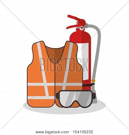 Jacket and glasses icon. Industrial safety security and protection theme. Colorful design. Vector illustration
