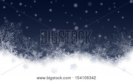 Christmas Background Of Snowflakes And Snowdrifts