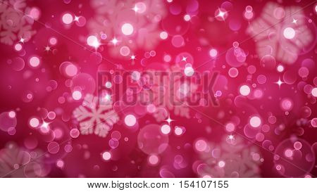 Christmas Background Of Fuzzy And Blurred Snowflakes