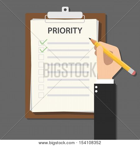 priority concept illustration with business man hand signing a paper work document on clipboard with wooden table vector