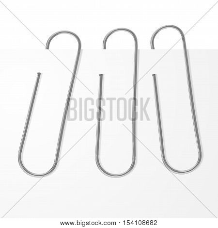 Clean Office Paperclip Clipped On Paper