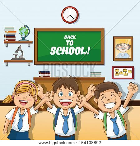 Girl abd boys cartoon and classroom icon. Back to school theme. Colorful design. Vector illustration