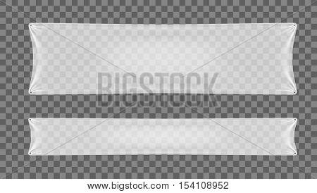 White Transparent Polythene Folded Banner. EPS10 vector