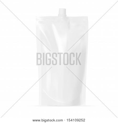 White Blank Pouch. Clear Pack For Sauce, Mayonnaise Or Ketchup. EPS10 Vector