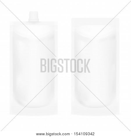White Blank Pouch. Pack For Sauce, Mayonnaise Or Ketchup. EPS10 Vector