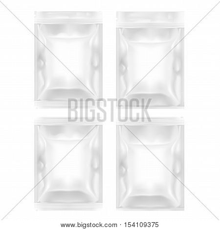 Four Various White Blank Filled Foil Pouch Bag Plastic Packaging With Zip Lock. EPS10 Vector
