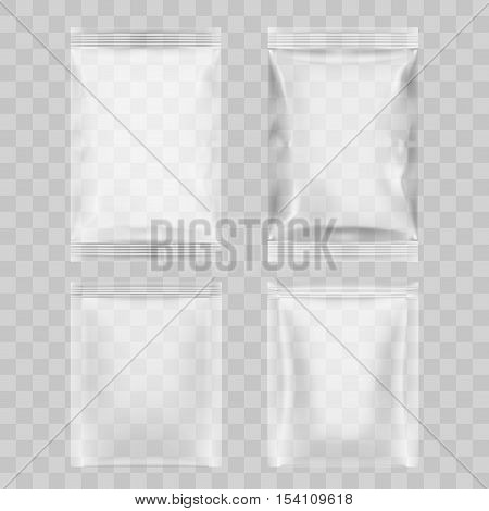 Set Of Transparent Packaging For Snacks, Chips, Sugar, Spices, Or Other Food. EPS10 Vector