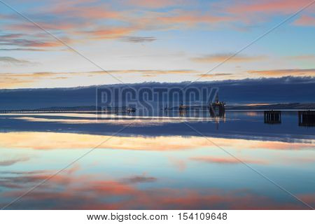 Semi Submersible Oil Rig during Sunrise at Cromarty Firth in Invergordon Scotland