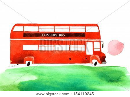 Beautiful cartoon double decker bus isolated on white background. Hand drawn watercolor double decker bus with green grass for your design.