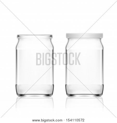 Realistic Empty Glass Jar Isolated On White Background. EPS10 Vector