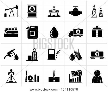 Black Oil industry, Gas production, transportation and storage icons - vector icon set