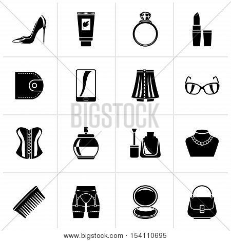 Black Female accessories and clothes icons- vector icon set