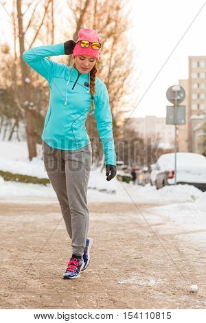 Girl Taking Morning Walk In Winter