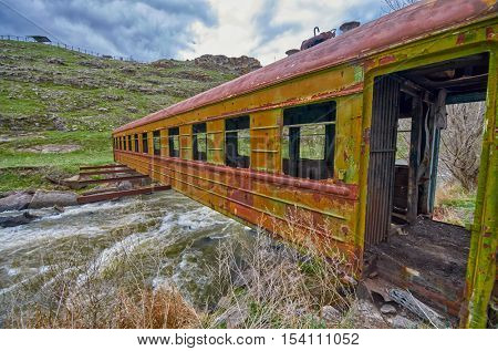 Surreal Rusty Bridge in Georgia made of Abandoned Train Car
